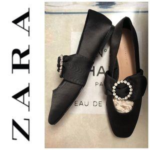 NWT Zara Bedazzled Ballerinas 37